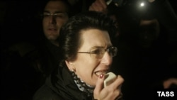 Opposition leader Nino Burjanadze claimed to hold up a rubber bullet fired by the police at demonstrators.