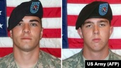 U.S. Corporal Jeremy Morlock (left) and Private Andrew Holmes (right) in combo photo (undated)