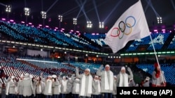 Ресей спортшылары Пхенчхан олимпиадасының ашылуы кезінде. 9 ақпан 2018 жыл.