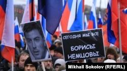 На траурном шествии памяти Бориса Немцова