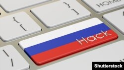 Generic – Russian hack attack concept, on the computer keyboard. 3D rendering