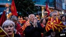 Protestuesit para zyres së BE-së në Shkup, 28 prill