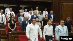 Armenia -- Gagik Tsarukian and other deputies from his Prosperous Armenia Party attend a parliament session in Yerevan, July 9, 2019.