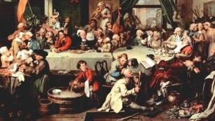 Уільям Гогарт, «Перадвыбарчы банкет» (1755).