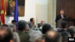 """Претседателот Ѓорге Иванов зборува на петтата меѓународна конференција """"Улогата на активниот состав и на резервата на вооружените сили во поддршката на нивните мисии и задачи во регионалната и глобалната безбедносна средина во 21 век"""", што се одржа во Дом"""