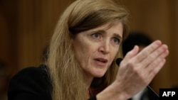 Samantha Power, nominee to be the next U.S. representative to the United Nations, testifies before the Senate Foreign Relations Committee in Washington on July 17.