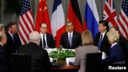 جلسه باراک اوباما با اعضای گروه ۱+۵ در حاشیه اجلاس امنیت هستهای.