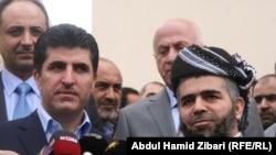 نيجيرفان بارزاني وعلي بابير في مؤتمر صحفي بأربيل