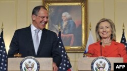 Russian Foreign Minister Sergei Lavrov (left) alongside U.S. Secretary of State Hillary Clinton in Washington.
