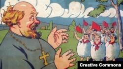 """Плакат """"Поп и октябрята"""", 1930-е. Рисунок Д. Моора"""