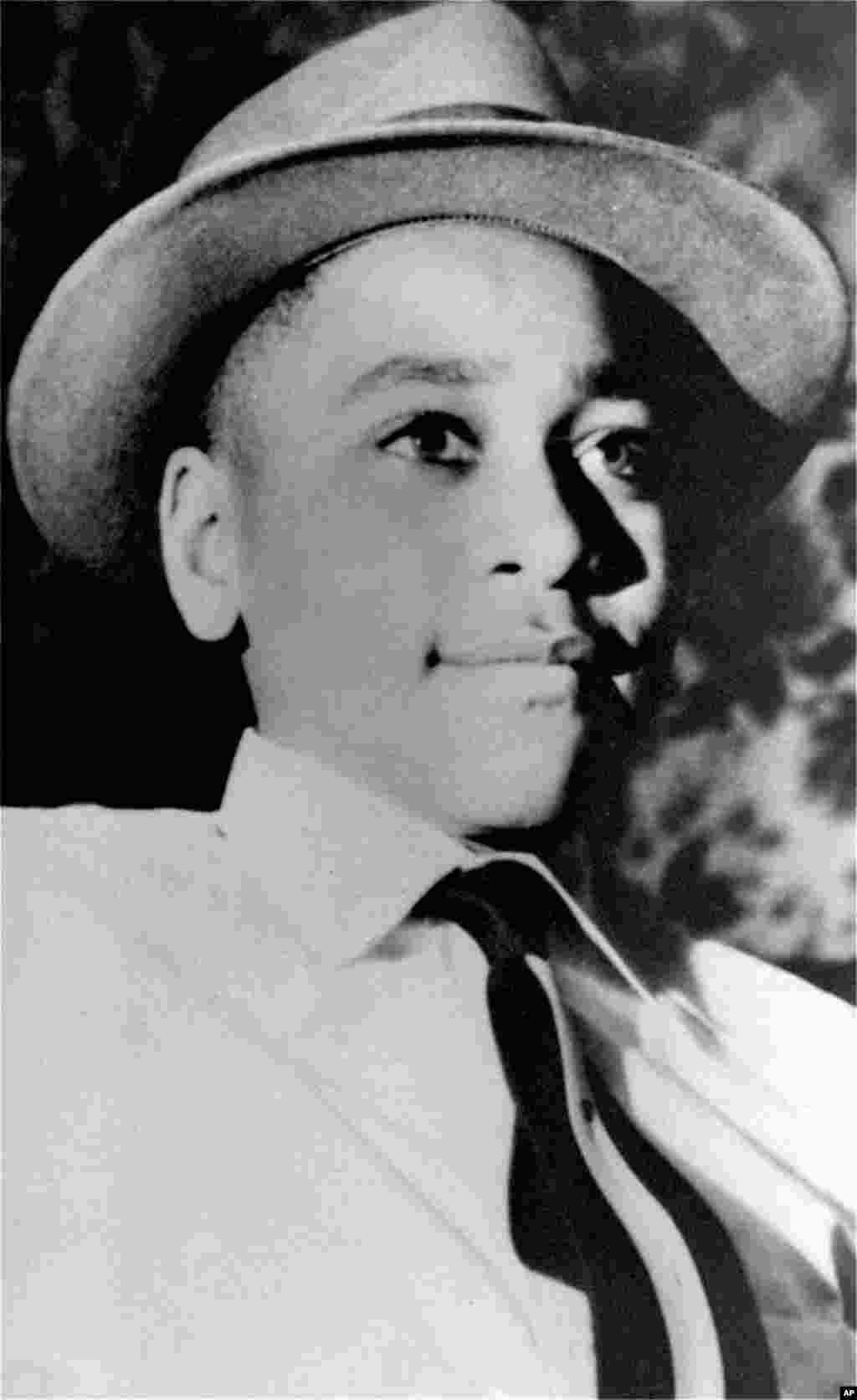 Emmett Till, a 14-year-old from Chicago, was visiting family in Mississippi when he was kidnapped, brutally beaten, shot, and dumped in a river. His two white attackers, who said that they had killed Till because he whistled at a white woman, were acquitted by an all-white jury. The case became a cause célèbre of the civil rights movement.
