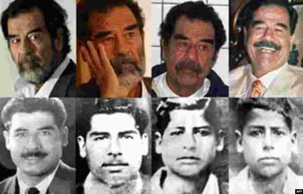 Iraq -- collage of images of Saddam Hussein - Säddam Xösäyen tormışınıñ törle yıllarında (AFP)