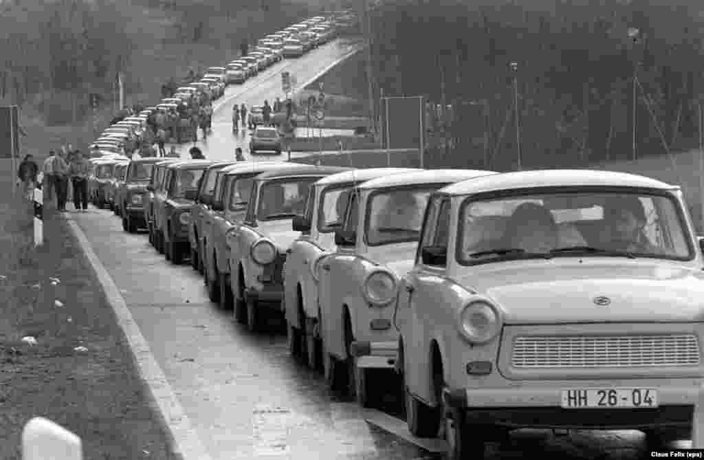"By the late 1980s, the Trabant had become a symbol of Moscow's crumbling communist empire. As border controls weakened, vast lines of Trabants snaked out of East Germany on the ""Trabi trail"" to flee the communist regime."