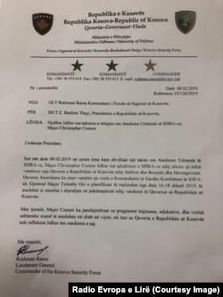 Letra e komandantit të FSK-së, dërguar presidentit Hashim Thaçi