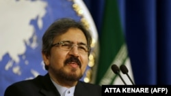 IRAN -- Iranian foreign ministry spokesman, Bahram Ghasemi speaks during a press conference on August 22, 2016 in Tehran.