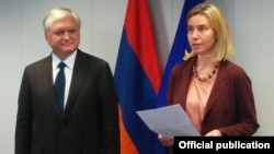 Belgium - The EU's foreign and security policy chief, Federica Mogherini, and Armenian Foreign Minister Edward Nalbandian announce the start of negotiations on a new EU-Armenia accord, Brussels, 7Dec2015.