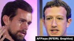 Кіраўнікі Twitter Джэк Дорсэй (зьлева) і Facebook Марк Цукерберг