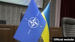 Ukraine – Flags of the NATO and Ukraine, undated