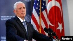 Майк Пенс түрк президенти менен кездешүүдөн кийинки басма сөз жыйынында. Анкра, 17-октябрь, 2019-жыл.