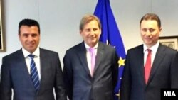 Macedonia -EU Commissioner Hahn meets leaders of Macedonia's four main parties .