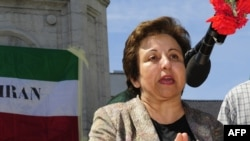 Shirin Ebadi speaking in Brussels in late June