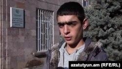 Armenia - Hovannes Harutiunian, a 16-year-old opposition activist, speaks to RFE/RL, Yerevan, 15Jan2016.