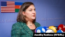 Azerbaijan -- Baku. A press conference of Victoria Nuland, Assistant Secretary of State for European and Eurasian Affairs at the United States Department of State, 17 February 2015