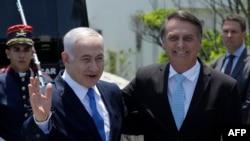 بنیامین نتانیاهو صدراعظم اسرائیل (چپ) همراه با ژائیر بولسونارو رئیس جمهور برازیل در شهر ریو دو ژانیرو