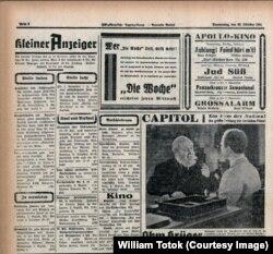 """Publicitate, în România, pentru filmele naziste """"Jud Süß"""" şi """"Ohm Krüger"""" în ziarul """"Südostdeutsche Tageszeitung"""", 23.10. 1941"""