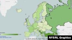 Եվրոպայում մահմեդական բնակչության ստվարությունը պատկերող քարտեզ