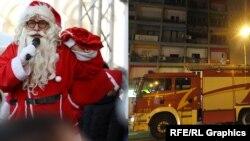 Илустрација - Дедо Мраз и противпожарно возило