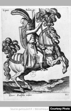 """Коньнік Рэчы Паспалітай. Гравюра Абрагама дэ Бройнa з кнігі """"Diversarum gentium armatura equestris"""". Кёльн, 1587"""