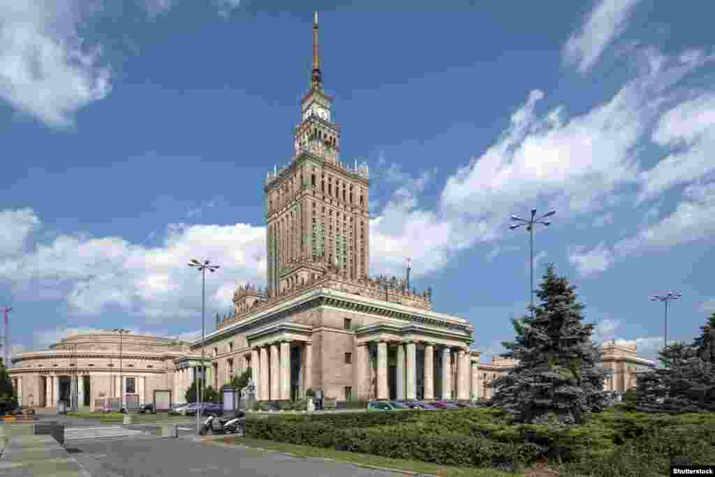 "The Palace of Culture and Science in Warsaw opened in 1955 as a gift from the Soviet Union to the people of Poland. It has long engendered negative feelings, not only because of its imposing presence on the landscape but due to its obvious Soviet-style architecture. It's often referred to as ""Stalin's Syringe."" It currently houses an exhibition space and offices."