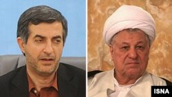 Esfandiar Rahim Mashaie (solda) və Akbar Hashemi Rafsanjani (sağda)
