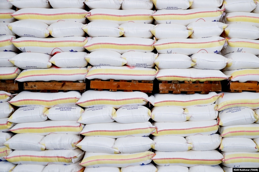 Sacks of flour stacked at a storage facility in Novosibirsk, Russia. Production of bread, grains, and pasta has been boosted in the Novosibirsk region due to increased demand amid the COVID-19 pandemic.