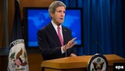 ԱՄՆ-ի պետքարտուղար Ջոն Քերրին ելույթ է ունենում Մարդու իրավունքների տարեկան զեկույցի հրապարակման կապակցությամբ, Վաշինգտոն, 27-ը փետրվարի, 2014թ․