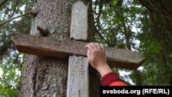Нямецкі крыж па расейскіх салдатах у Багушоўскім лесе