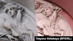 Барельеф на доме по улице Восстания, 19, в Санкт-Петербурге с изображением нимфы до и после реставрации