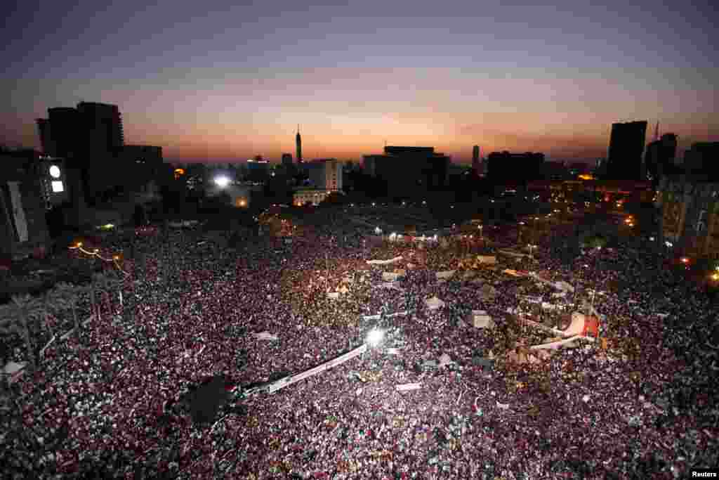 Thousands of anti-Morsi protesters chanted slogans during a mass protest to support the Egyptian Army in Tahrir Square in Cairo. (Reuters/Mohamed Abd El Ghany)
