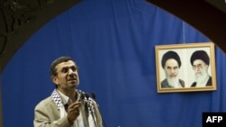 Iranian President Mahmud Ahmadinejad delivers a speech at Tehran University in 2012.