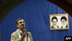 Iranian President Mahmud Ahmadinejad delivers a speech at Tehran University in 2012.