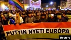 Демонстрация протеста против визита президента РФ Владимира Путина в Будапешт, февраль 2015