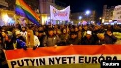 Демонстрация в Будапеште против визита Владимира Путина