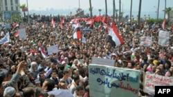 Демонстрация в городе Александрия с требованием предать суду экс-президента Хосни Мубарака, 1 апреля 2011