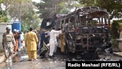 Wreckage of a student bus attacked in Quetta. At least 11 of the women aboard the bus were killed and some 20 others wounded.