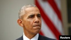 Президент США Барак Обама выступает с официальным заявлением, Вашингтон, 9 ноября 2016 года.
