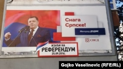 Milorad Dodik, president of Republika Srpska, on an election billboard calling for people to vote in a referendum on their statehood day in the western town of Banja Luka.