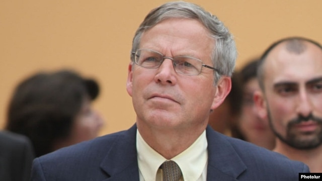 Armenia - U.S. Ambassador John Heffern attends a ceremony in Yerevan, 19Jun2014.