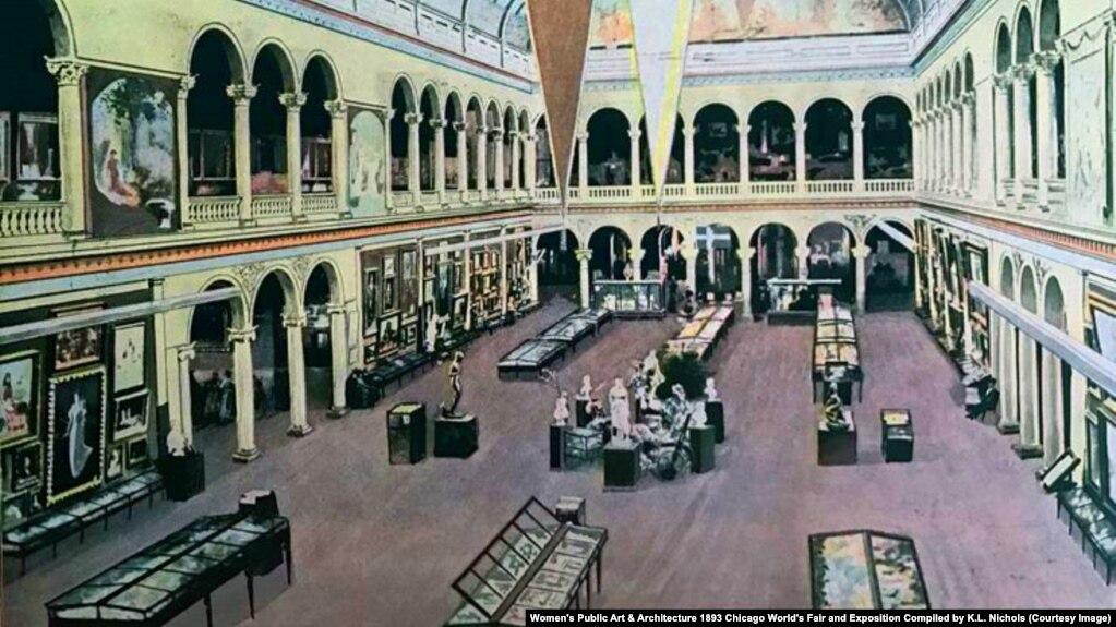 Внутренний зал Женского дома, ротонда. Из книги Women's Public Art & Architecture 1893 Chicago World's Fair and Exposition Compiled by K.L. Nichols