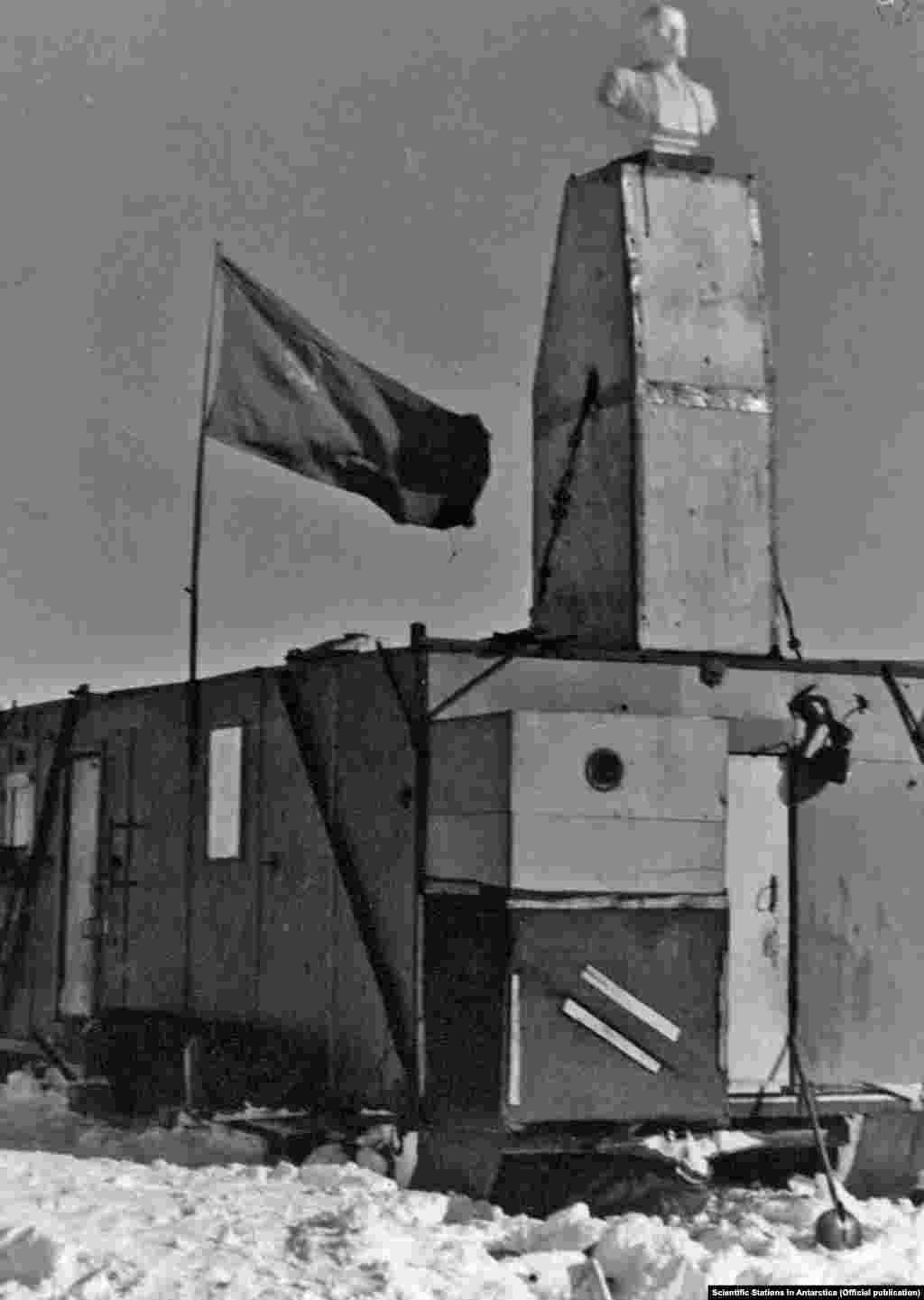 ANTARCTICA -- The Pole of Inaccessibility -- The main hut as seen during the original station occupancy